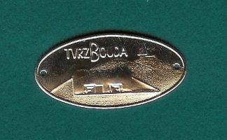 Kovový štítek na hůl s motivem tvrze Bouda stříbřitý