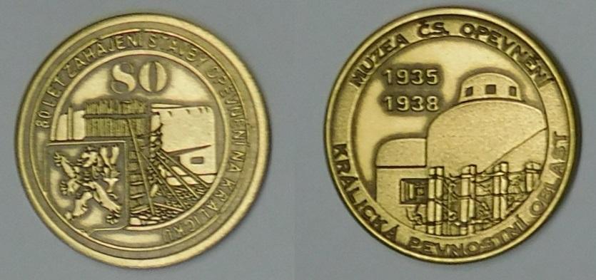 Medaile 80 let od zahájení stavby opevnění na Králicku